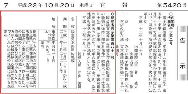 官報(平成22年10月20日)