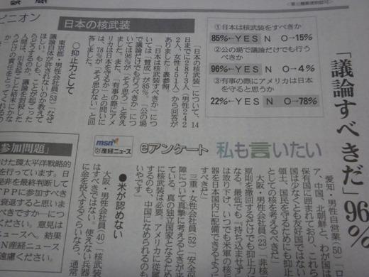 核武装すべきに賛成85%・産経新聞のネットアンケート