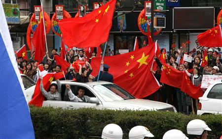 2008年の北京五輪の長野聖火リレー