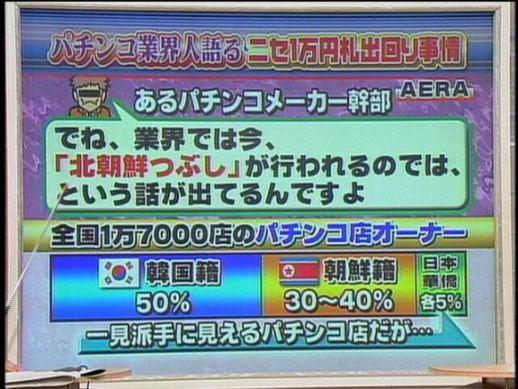 『AERA』(2006年2月13日号)では「全国のパチンコ店オーナーの出自の内訳は、韓国籍が50%、朝鮮籍が30~40%、日本国籍、華僑が各5%」としている。