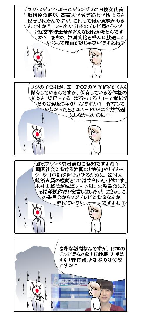 よくわかるフジテレビ偏向放送4コマ漫画 子会社利益宣伝、「韓日戦」