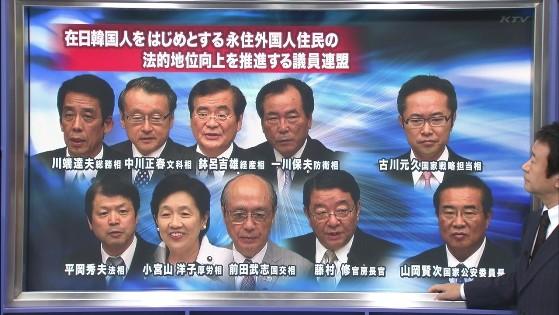 「在日韓国人をはじめとする永住外国人住民の法的地位向上を推進する議員連盟」は民主党の414人の衆参議員のうちでも65人しかいない超推進派。それがこの比率で入閣って・・・明らかに「外国人参政権内閣」だ。
