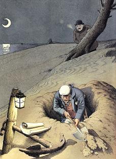 砂浜を掘り続ける片足が義足の男(「ラストリゾート」より)