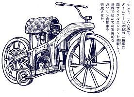 世界初のオートバイ(「マルコーニ ダイムラー ライト兄弟」より)