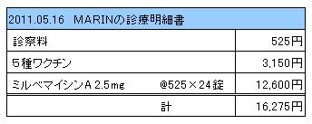 2011.05.16 MARINの診療明細書