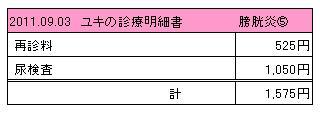 ユキ 2011.09.03診療明細書