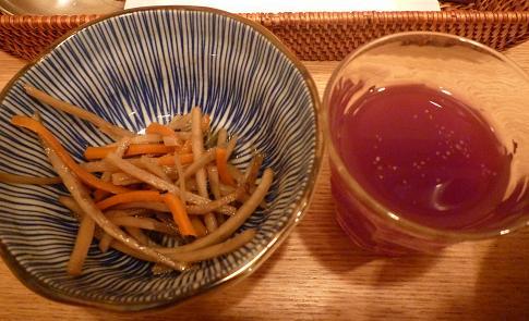 『俺のハンバーグ山本 渋谷店』 俺のハンバーグ(キンピラの小鉢と野菜ジュース)