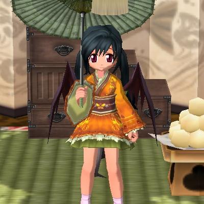 小粋な着物ワンピ橙