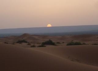 サハラ砂漠朝日