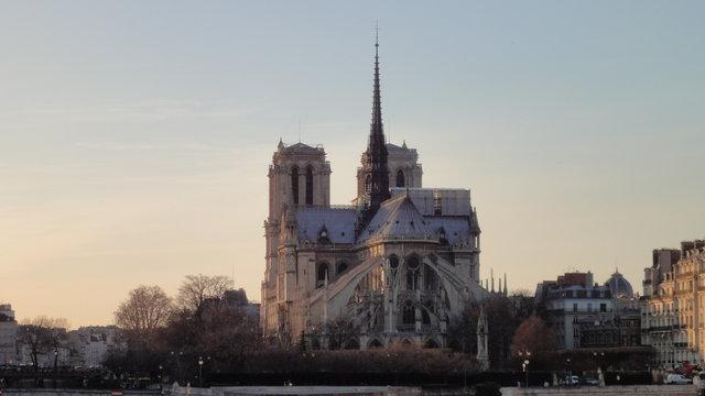 パリのノートルダム大聖堂の夕暮れ