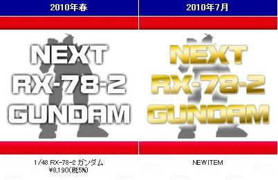 2010年7月発売 RX-78-2 ガンダム NEW ITEM