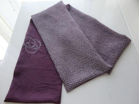 藤色絞り染スカーフ