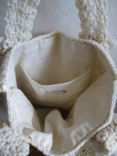 ニットのバッグ…ポケット付き内袋