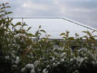 窓からの風景…お向かいの屋根に雪が積もってるぅ