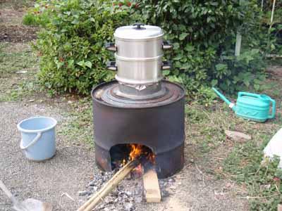 米麦セイロで蒸す