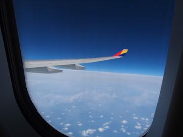 行きの飛行機の眺め
