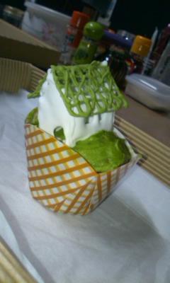 カップケーキ_抹茶色い屋根の家