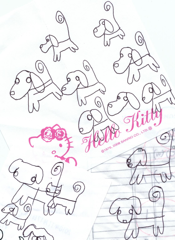 一筆書きで犬の練習