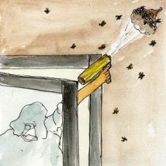 アシナガバチとの戦い