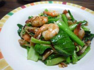 海老と小松菜炒め