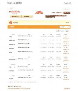 HottoMotto(ほっともっと)さんの秋田県内の店舗一覧表です