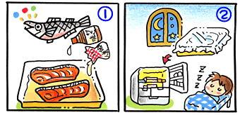 鮭の照り焼き美人の作り方①と②