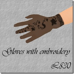 Gloves with embroidery Black