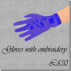 Gloves with embroidery Blue
