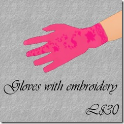 Gloves with embroidery Pink