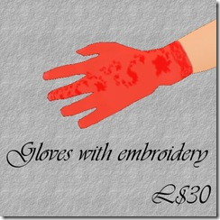 Gloves with embroidery Red