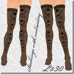 Stockings with embroidery Black