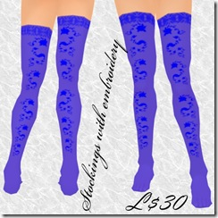 Stockings with embroidery Blue