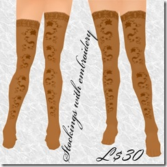 Stockings with embroidery Brown