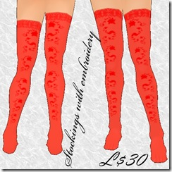 Stockings with embroidery Red
