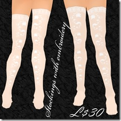 Stockings with embroidery White