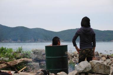 いつもの島からドラム缶風呂