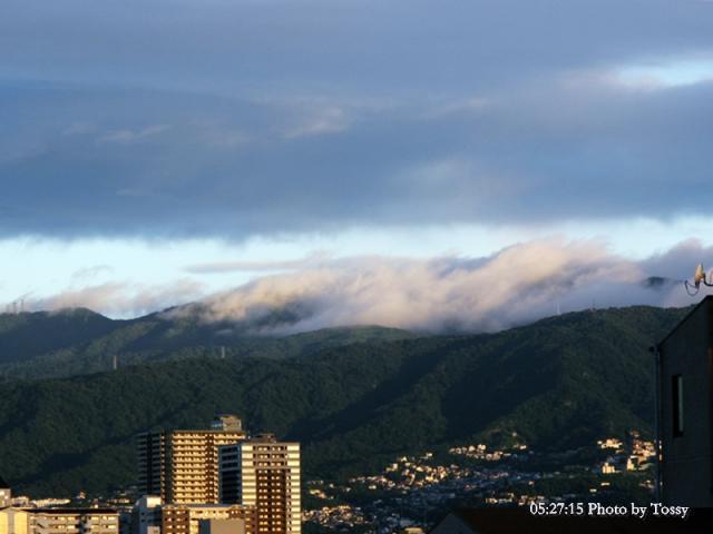 霧のたなびく六甲山最高峰付近