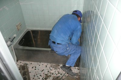 浴槽工事中