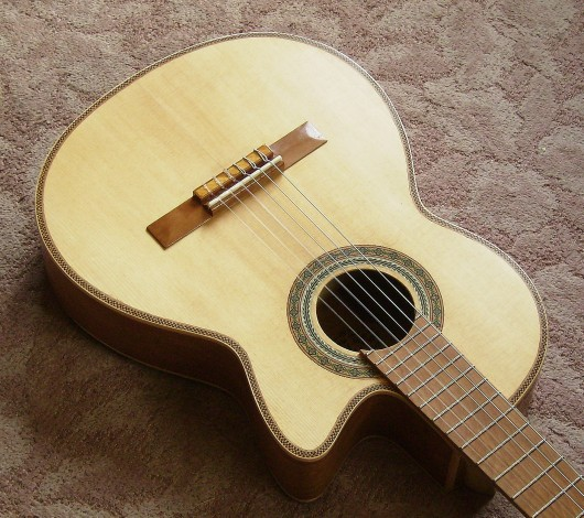菊ギター第14号完成ボディー全体斜
