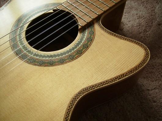 菊ギター第14号完成左肩斜アップ2