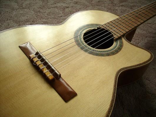 菊ギター第14号完成左側からボディーアップ