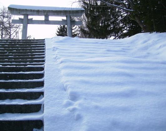 中段鳥居への階段(雪の質感)