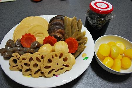 おせち料理、黒豆のたいたん、くり甘露煮