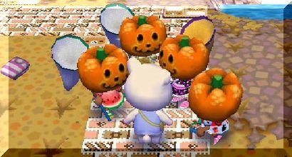 れんにゅうかぼちゃに囲まれる
