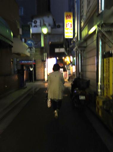 夜道をゆく。上野の小道