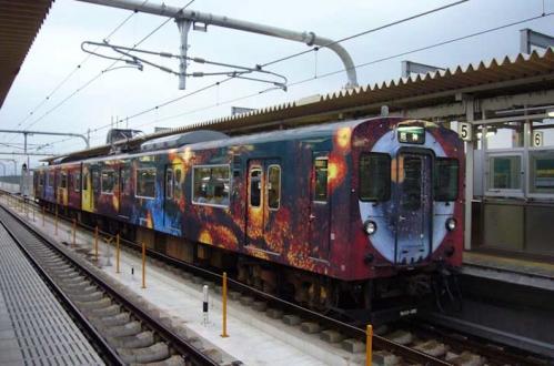 西脇市へ2010.07.31- 加古川線~横尾さんのラッピング電車05銀河の旅