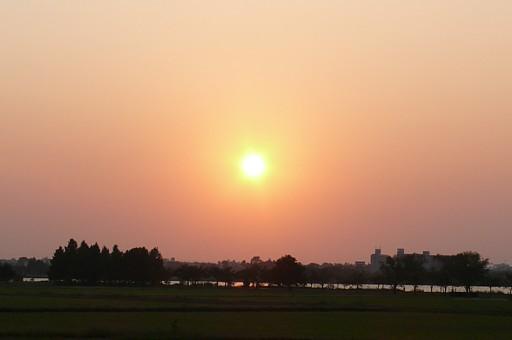 木場潟夕日