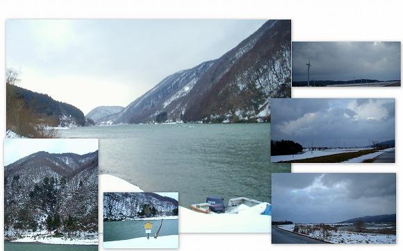 冬の最上峡と風車