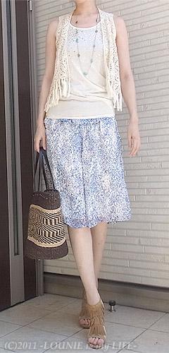 LOUNIE(ルーニィ)通販:Stola.(ストラ)通販:Stola.(ストラ)2011年春夏物:LOUNIE is My LIFE管理人、出産後、初のひとり外出・・・♪Stola.サロペット×Stola.ジレ×LOUNIEサンダル×LOUNIEスカーフ付きバッグ×LOUNIEマリンネックレス×RD日傘
