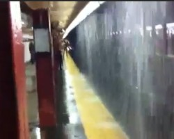 Rainy day causes MASSIVE Waterfall inside subway station